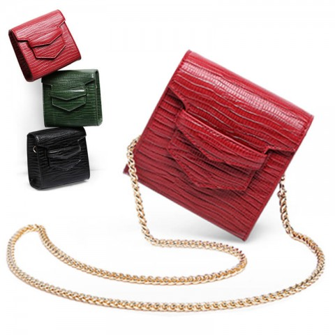 Mini square croc-effect leather  shoulder bag