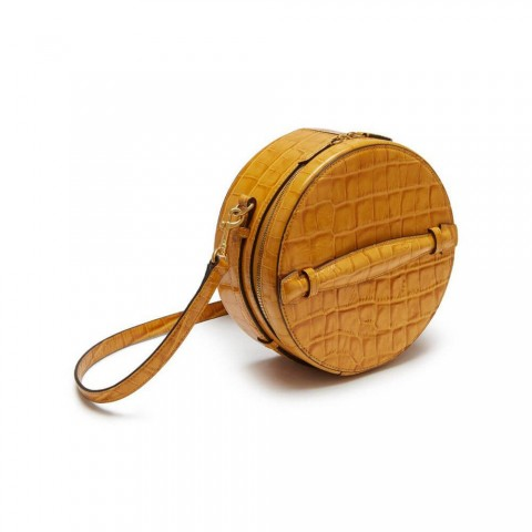 Mini Croc embossed barrel shaped crossbody bag