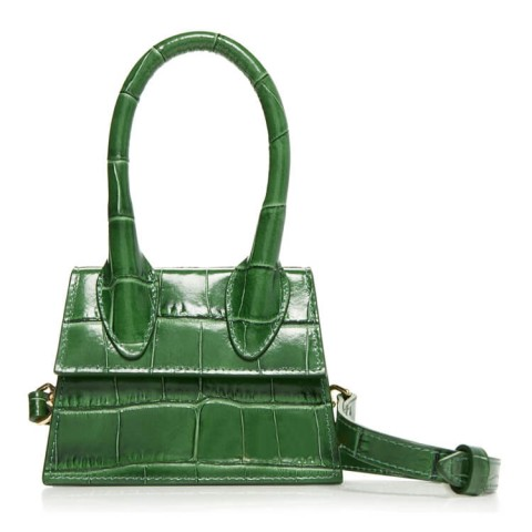 Mini crocodile embossed leather shoulder bag
