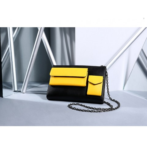 Two-tone color leather shoulder bag wholesale