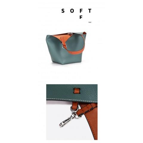 Medium Genuine Leather Bucket Bag-two tone color Tote bag