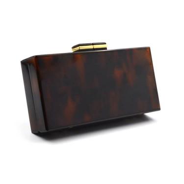Brown Acrylic box clutch bag for women