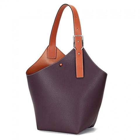 Medium Genuine Leather Bucket Bag-two tone color Tote bag