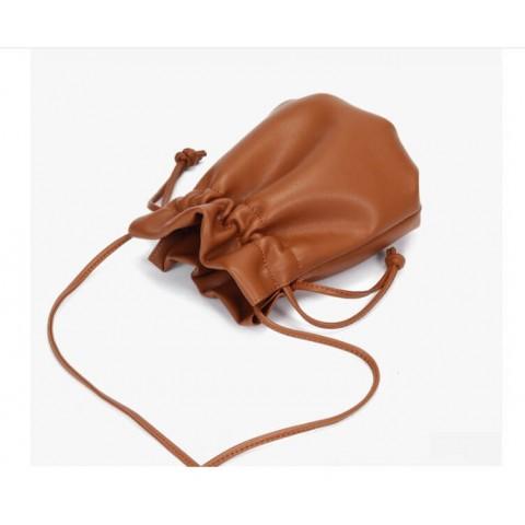 Custom genuine leather crossbody drawstring bag