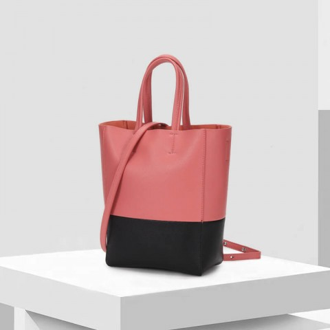 Custom genuine leather two-tone tote bag