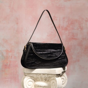 Black Soft leather shoulder bag wholesale