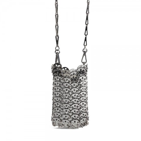 Metal mesh silver phone crossbody bag for party