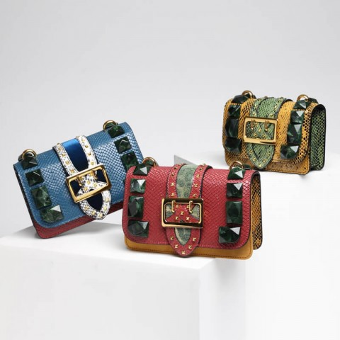 Snake leather crossbody box bag