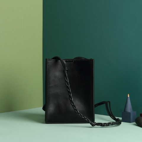 Black leather phone shoulder bag for women or men