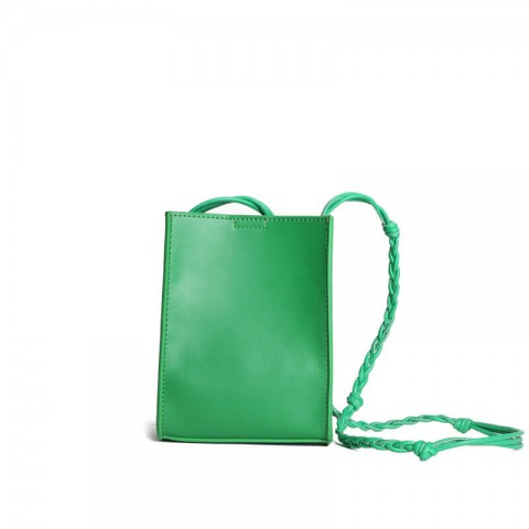 Green leather phone crossbody bag