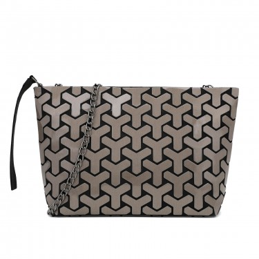 Brown Geometric crossbody makeup purse