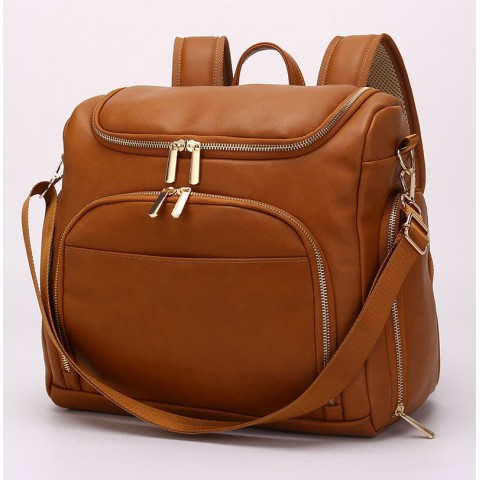 Custom leather diaper backpack for women