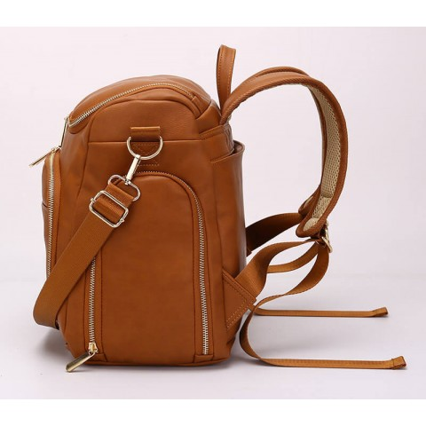 Custom leather diaper backpack for women