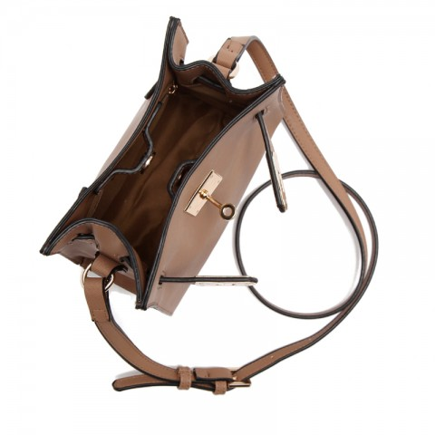 Cross-grain Leather Bucket Bag