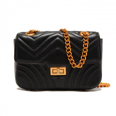 Matelasse Leather Shoulder Bag with Chain