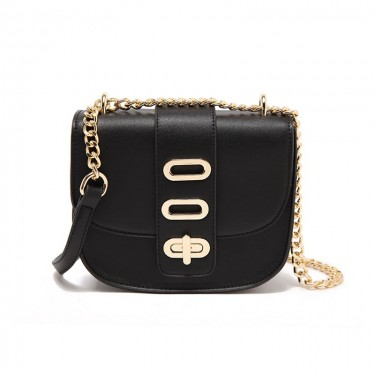 Gold-tone Lock Pig Shoulder Bag