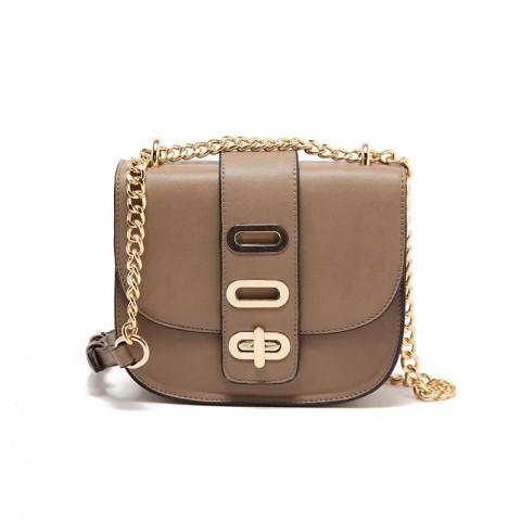 Gold-tone Lock Pig Shoulder Bag