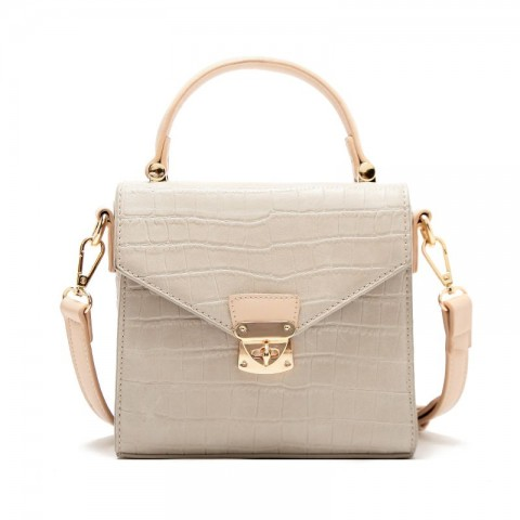 Crocodile Grain Leather Satchel Bag