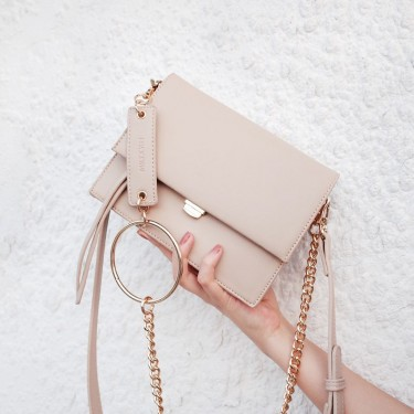 Clutch Shoulder Bag With Ring