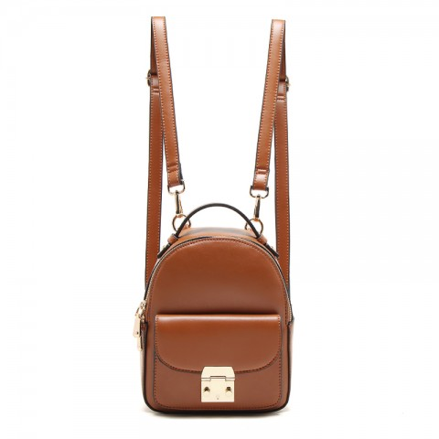 Small Gold-tone Lock Leather Backpack