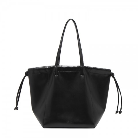 Large Leather Drawstring Tote Bag