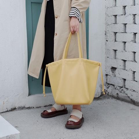 Large Leather Drawstring Tote Bag