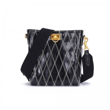 Quilted Leather Crossbody Bucket Bags