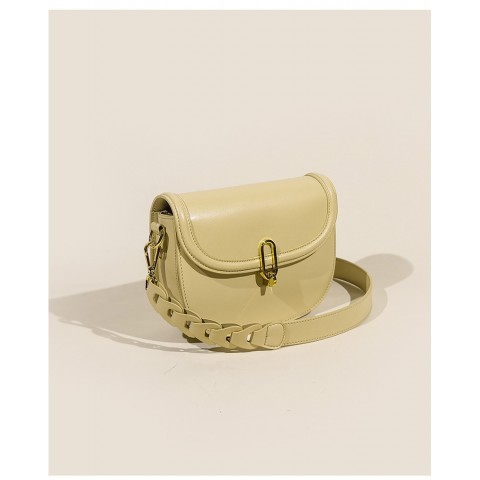 Custom mini calf leather saddle crossbody bags with weave shoulder strap