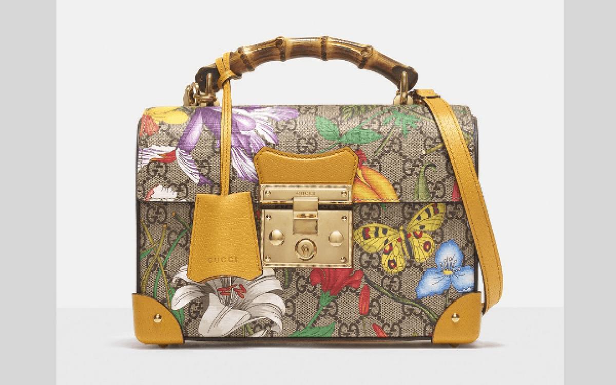 Gucci Flora Printed Padlock Bamboo Bag-cosmetic bag